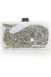Jean Whale glittered acrylic box clutch