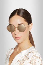 Octagon-frame metal mirrored sunglasses