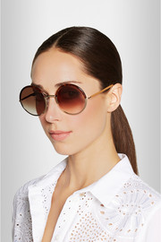Round-frame metal and acetate sunglasses