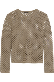 Theory Krezia crocheted cotton-blend top