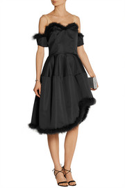 Asymmetric feather-trimmed satin dress