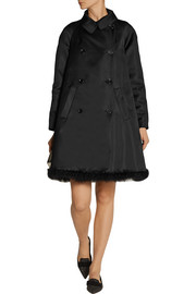 Simone Rocha Feather-trimmed duchesse-satin coat