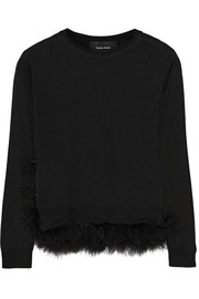 Feather-trimmed wool, silk and cashmere-blend sweater