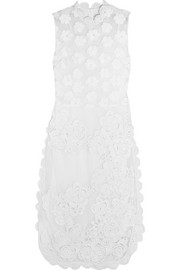 Crochet and floral-embroidered tulle dress