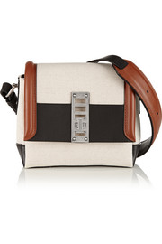 Elliot mini leather-trimmed canvas shoulder bag