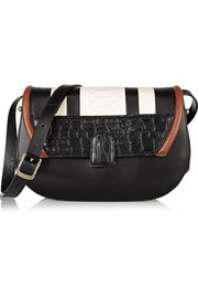U paneled leather and python shoulder bag