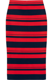 Striped stretch cotton-blend midi skirt
