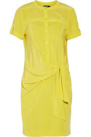 Stretch-silk crepe de chine shirt dress