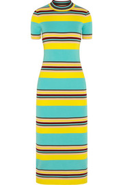 Striped ribbed stretch-jersey midi dress