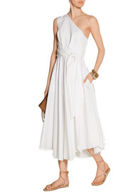 One-shoulder cotton-poplin dress