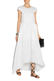 Asymmetric cotton-poplin maxi dress