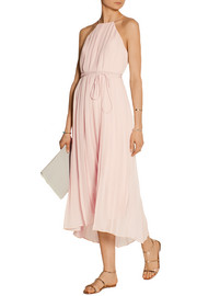 Simone pleated silk-chiffon dress