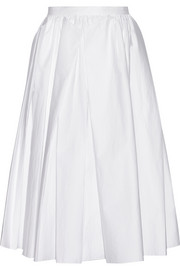Pleated cotton-poplin midi skirt
