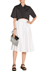 Tibi Cropped cotton-poplin top