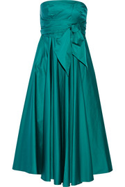 Strapless satin-poplin midi dress