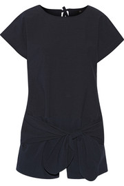 Tie-front seersucker stretch cotton-blend playsuit