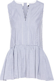 Tibi Striped cotton Oxford peplum top