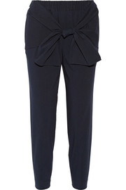 Tie-front seersucker stretch cotton-blend tapered pants