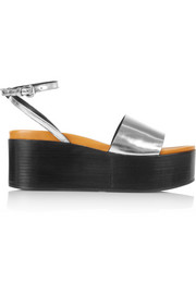 Lotta metallic leather wedge sandals