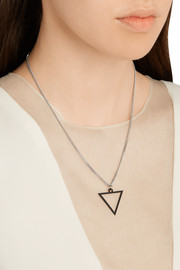 Silver-plated rubberized triangle necklace