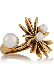 Starburst gold-plated faux pearl ring