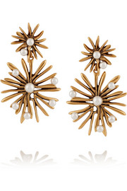Starburst gold-plated faux pearl earrings