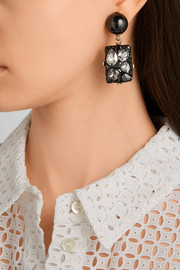 Diamond Rock gold-plated, resin and crystal clip earrings