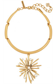 Oscar de la Renta Starburst gold-plated faux pearl necklace
