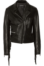+ THEPERFEXT Gina fringed leather biker jacket