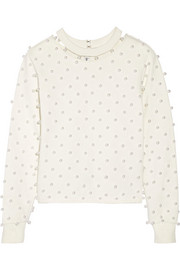 + Adam Selman embellished cotton-jersey sweatshirt