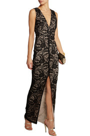 Caragen embellished guipure lace gown