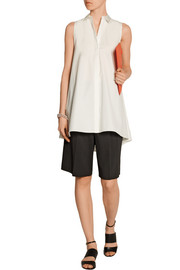Alice + Olivia Anisa satin-trimmed cotton-poplin tunic
