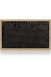Victoria Beckham Alligator and gold-tone box clutch