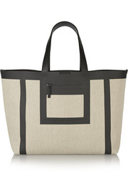 Simple leather-trimmed linen-canvas tote