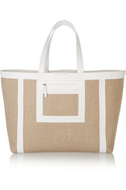 Victoria Beckham Simple leather-trimmed linen-canvas tote