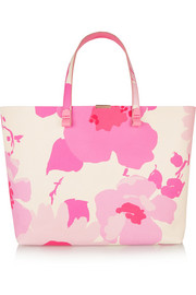 Victoria Beckham Simple floral-print leather tote