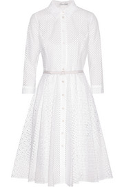 Belted broderie anglaise cotton shirt dress