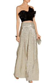 Oscar de la Renta Pleated lamé wide-leg pants