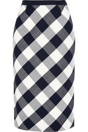 Gingham stretch wool-blend pencil skirt