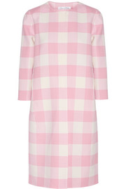 Oscar de la Renta Checked stretch-wool twill coat
