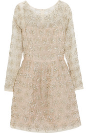 Embellished silk-voile mini dress
