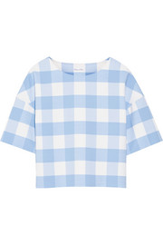 Checked wool-blend top