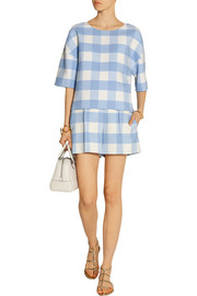 Oscar de la Renta Checked wool-blend shorts