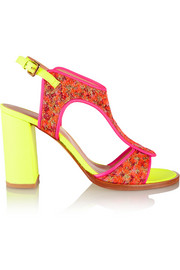 Neon leather and brocade sandals