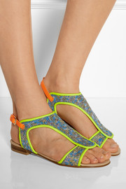 Markus Lupfer Neon leather and brocade sandals