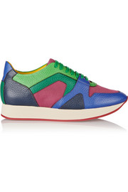 Burberry Prorsum Textured-leather and mesh sneakers