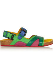 Color-block textured-leather sandals