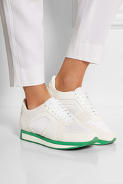 Textured-leather, suede and mesh sneakers