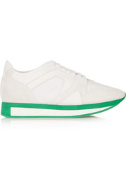 Burberry Prorsum Textured-leather, suede and mesh sneakers