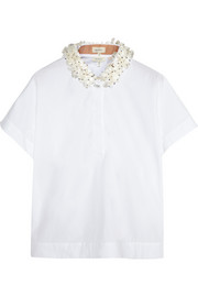 Embellished cotton-poplin top